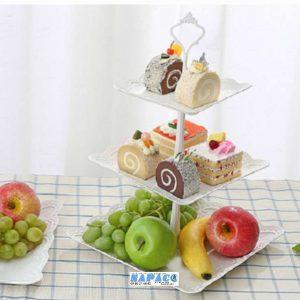 Khay đựng trái cây, bánh 3 tầng vuông 37x24cm