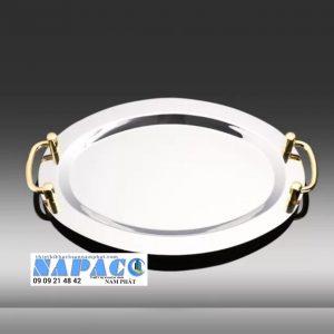 Khay trưng bày inox Oval vàng có tay nắm 122000