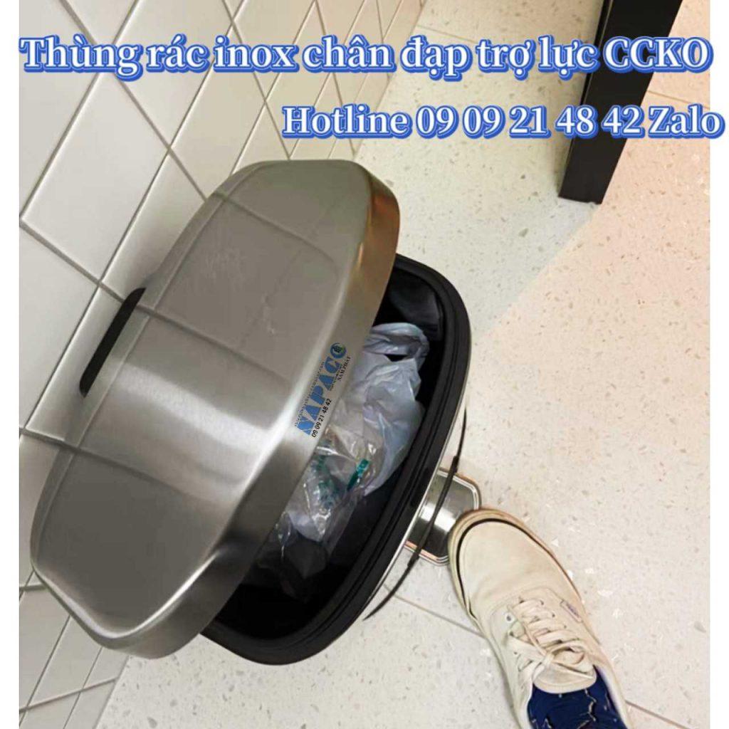 Thùng rác inox chân đạp có trợ lực