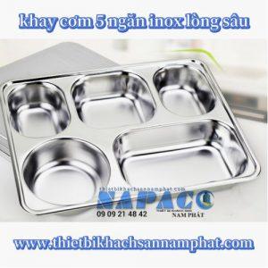 Khay cơm inox inox 5 ngăn lớn FPL5201