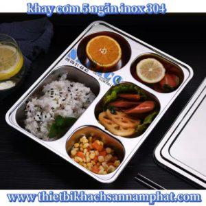 Khay cơm inox inox 5 ngăn lớn FPL5304