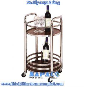 Xe đẩy rượu 2 tầng khung inox bạc A-007B